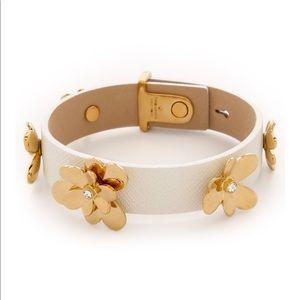 Kate Spade white pansy blossoms leather bracelet